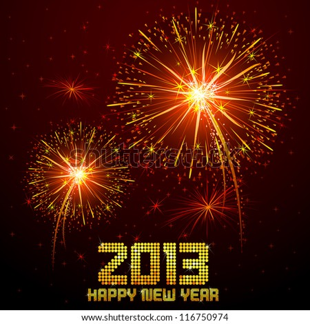 vector illustration of new year greeting for 2013 with firework - stock vector