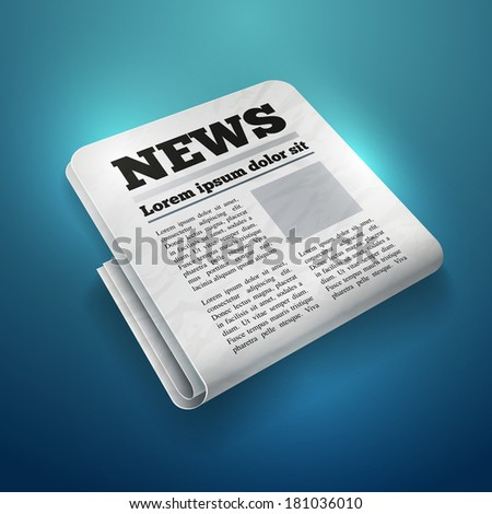 Vector illustration of newspaper icon. Elements are layered separately in vector file.