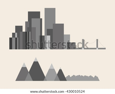 Vector illustration of night city, a large city, houses, skyscrapers, houses, offices, shops, streets, life, illustration on a light background, line, sketch, mountains, forest, nature, transition - stock vector