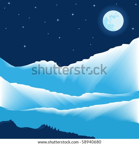 vector illustration of night mountain view in winter time