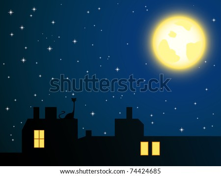 Vector illustration of night roofs and lonely cat looking at full moon