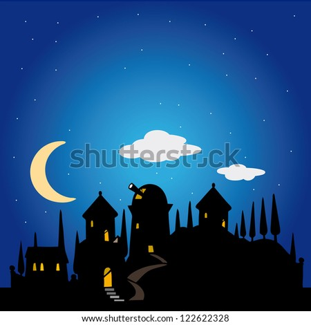 Vector illustration of night sky background silhouette