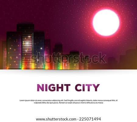 Vector illustration of Night urban city background  - stock vector