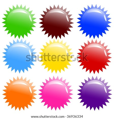 vector illustration of nine glossy icons