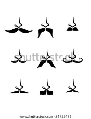 Vector illustration of nine moustache silhouettes