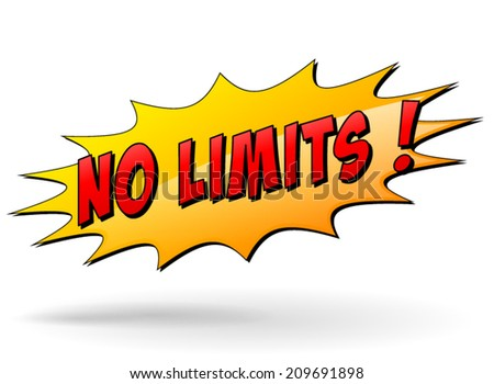 Vector illustration of no limits starburst icon on white background