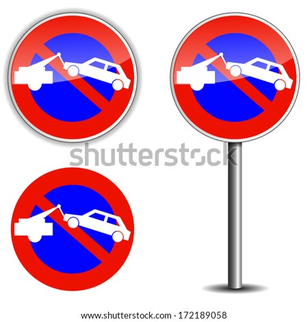 vector illustration of no park sign on white background - stock vector