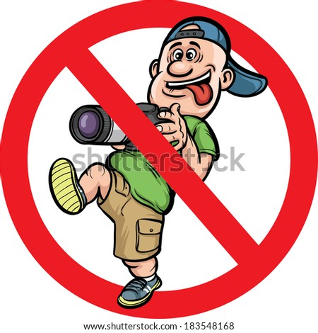 Vector illustration of No photography allowed sign with funny cartoon photographer character. Easy-edit layered vector EPS10 file scalable to any size without quality loss.