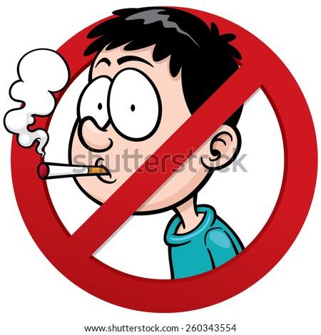 Vector illustration of No smoking sign - stock vector