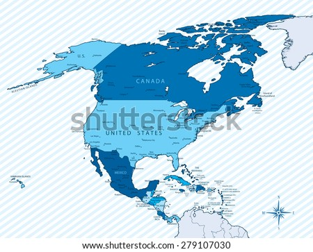 Vector Illustration North America Map Countries Stock Vector - North america map countries