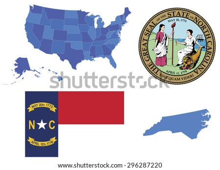 Vector illustration of North Carolina contains: High detailed map of USA High detailed flag of state North Carolina High detailed great seal of North Carolina State North Carolina, shape - stock vector