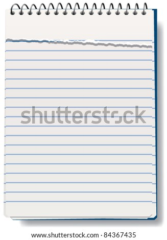 vector illustration of notepad with torn sheet - stock vector