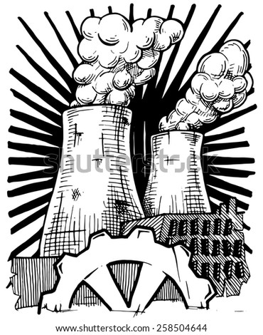 Vector illustration of  nuclear power plant  stylized as engraving. - stock vector