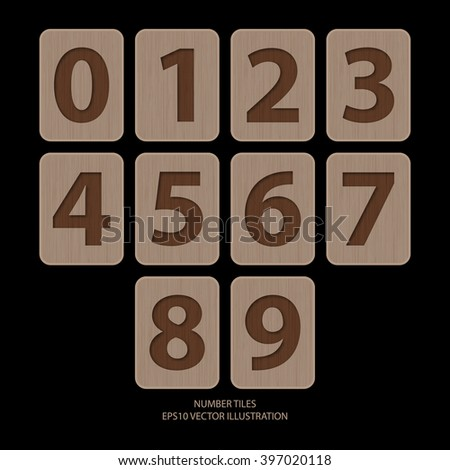 Vector illustration of number on wooden tiles