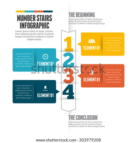 Vector illustration of number stairs infographic design element. - stock vector