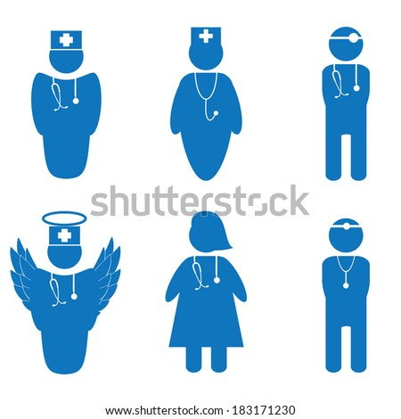 Vector illustration of nurse and doctors isolated - stock vector