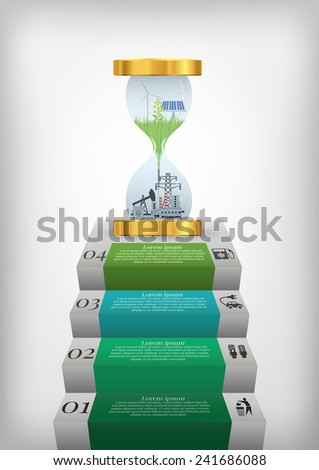 vector illustration of of option infographics with hourglass concerning to ecology and renewable energy themes  - stock vector