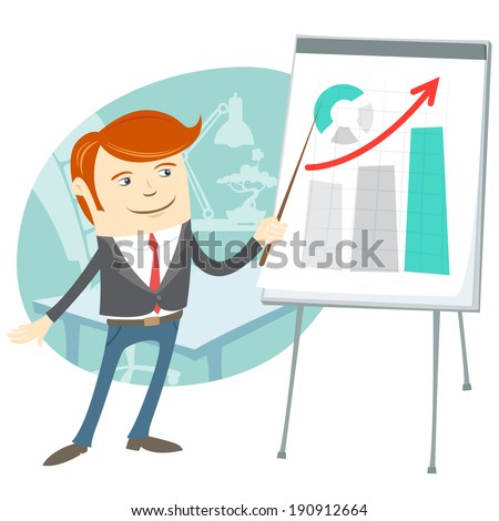 Vector Illustration of  Office man presenting a graph on flip-chart - stock vector