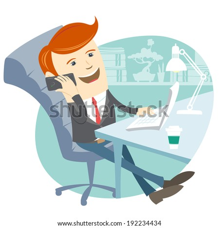 Vector Illustration of  Office man sitting at his working desk with phone - stock vector