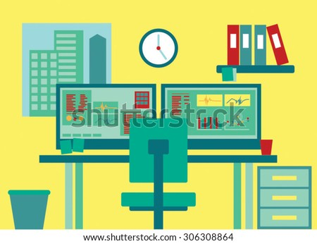 Vector illustration of office with desk and computers