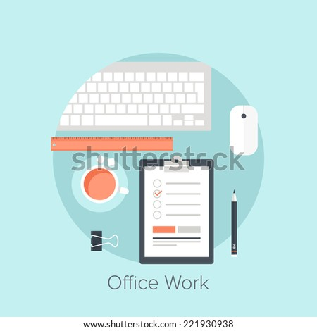 Vector illustration of office work flat design concept. - stock vector