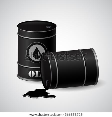 Vector illustration of  oil barrels  - stock vector