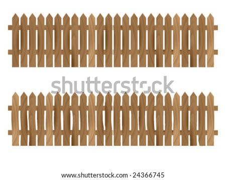 vector illustration of old and new fence with a clear wooden texture