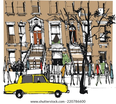 Vector illustration of old brownstone building New York with pedestrians and taxi - stock vector