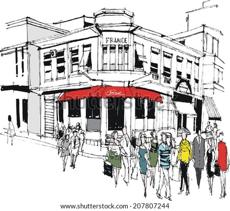 Vector illustration of old building and pedestrians, France - stock vector