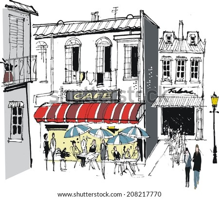 Vector illustration of old buildings, cafe, restaurant diners, and pedestrians, France. - stock vector
