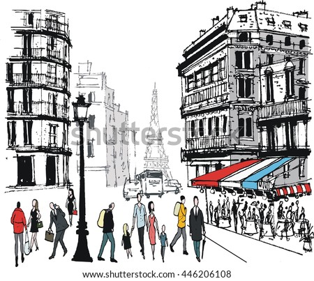 Vector illustration of old buildings, pedestrians and traffic in Paris street scene, France.