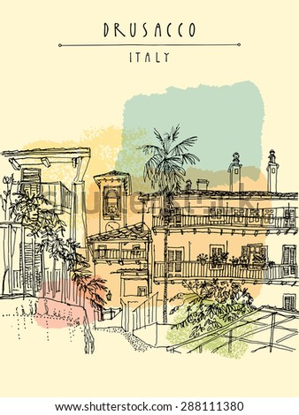 Vector illustration of old center in Drusacco, Italy, Europe. Historical building with a palm tree line art. Freehand drawing. Travel sketch, hand lettering. Vertical postcard, poster template - stock vector