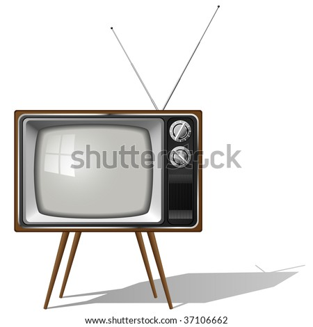 Vector illustration of old-fashioned four legged TV set isolated on white background. - stock vector