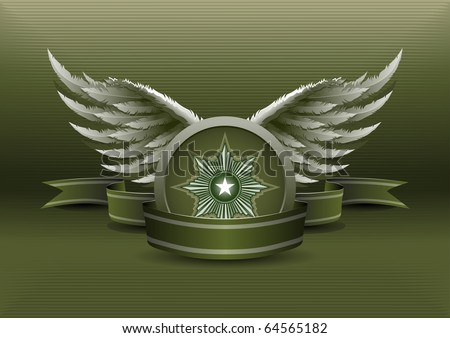 vector illustration of old fashioned insignia banner. Elements are layered separately in vector file. - stock vector