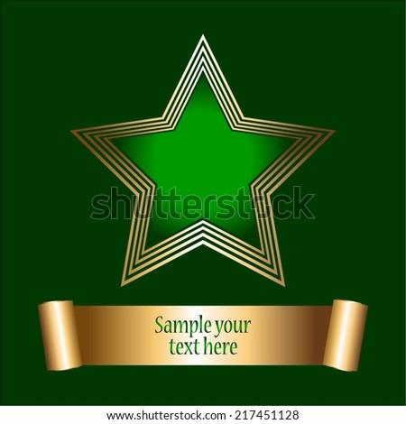 Vector illustration of old - green star. Award. Green background - stock vector