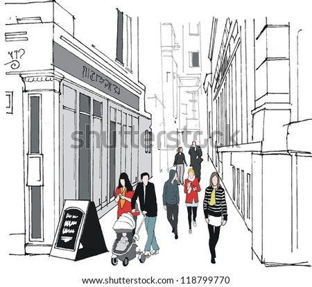 Vector illustration of old London buildings and pedestrians - stock vector