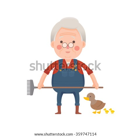 Vector Illustration of Old man working in Farm with fork in Hand, Ducks, Cartoon Character - stock vector