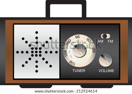 Vector illustration of old retro radio  - stock vector
