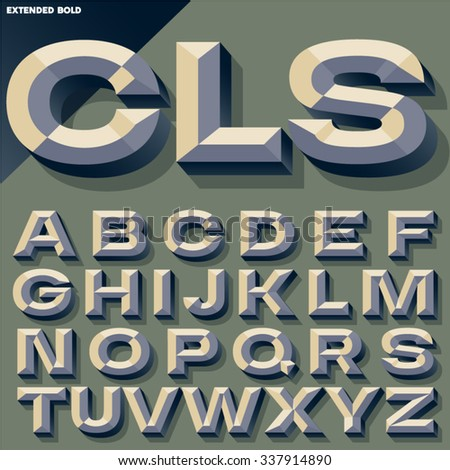 Vector illustration of old school bold beveled alphabet. Simple colored version - stock vector
