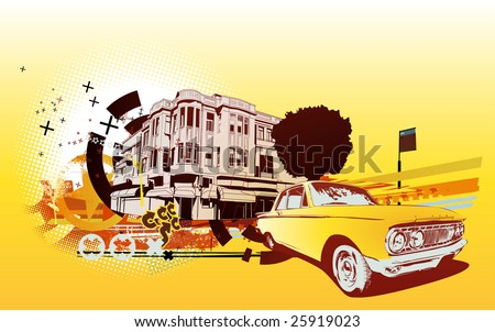 Vector Illustration of old vintage custom collector's car on Urban abstract background in grunge style - stock vector