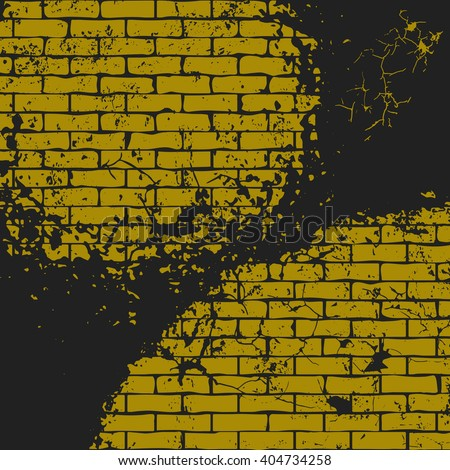 Vector illustration of old yellow brick wall with cracks. Fully editable grunge background in black and yellow colors. It can be used as a poster, wallpaper, t-shirt design and your other projects. - stock vector