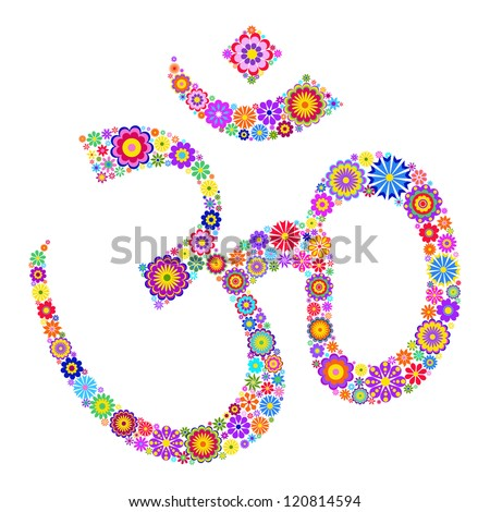 Vector illustration of Om symbol made of flowers on white background - stock vector