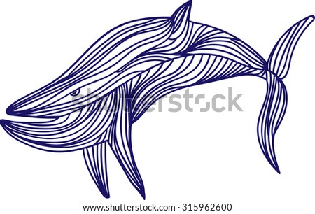 Vector illustration of one drawn from many blue lines wild swimming ocean predator animal of shark with tail and fins on white background - stock vector