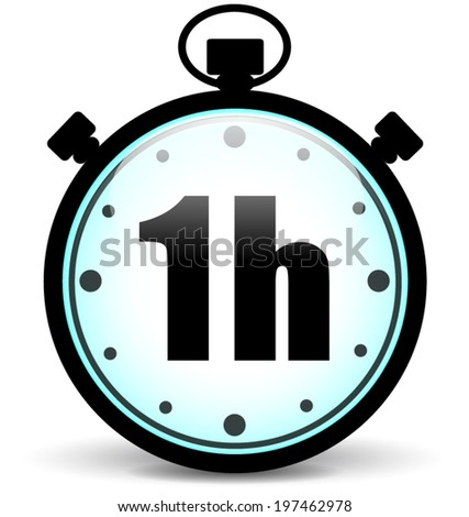 Vector illustration of one hour stopwatch icon - stock vector