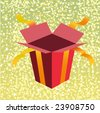 Vector Illustration of open birthday giftbox on the shiny background. - stock photo