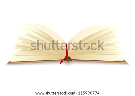 vector illustration of open book with bookmark - stock vector