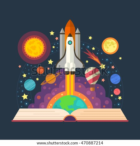 Vector illustration of open book with space elements - solar system, space shuttle, planets, stars, Earth, comet.  Imagination concept made in flat style vector.