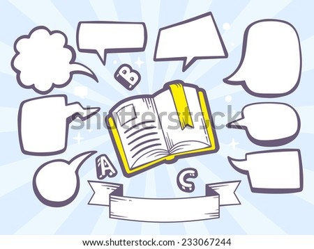 Vector illustration of open book with speech comics bubbles on blue background. Line art design for web, site, advertising, banner, poster, board and print. - stock vector