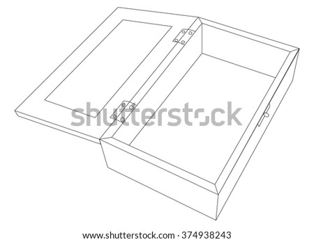 Vector illustration of open wooden box