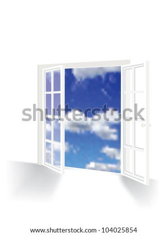 vector illustration of opened french window - stock vector